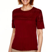 Alfred Dunner® Villa d'Este Short-Sleeve Pointelle-Yoke Solid Sweater - Petite