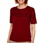 Alfred Dunner® Keep It Modern Short-Sleeve Pointelle-Yoke Solid Sweater - Petite