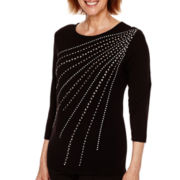 Alfred Dunner® Keep It Modern 3/4-Sleeve Studded Starburst Top - Petite