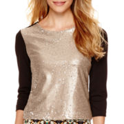 nicole by Nicole Miller® 3/4-Sleeve Embellished T-Shirt