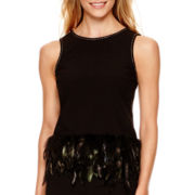 nicole by Nicole Miller® Feather-Trim Tank Top