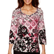 Alfred Dunner® 3/4-Sleeve Floral Blorder Top