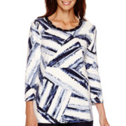 Alfred Dunner® 3/4-Sleeve Brushstrokes Print Top