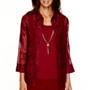 Alfred Dunner® Villa d'Este 3/4-Sleeve Swirl Burnout Layered Top with Necklace