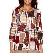 Alfred Dunner® Villa d'Este 3/4-Sleeve Abstract Shimmer Top