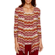 Alfred Dunner® Villa d'Este Zigzag Layered Top with Necklace