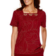 Alfred Dunner® Villa d'Este Short-Sleeve Dew Drop Textured Top