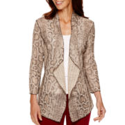 Alfred Dunner® Villa d'Este 3/4-Sleeve Python Print Cardigan Sweater