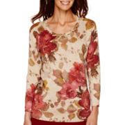 Alfred Dunner® Villa d'Este 3/4-Sleeve Floral Shimmer Sweater