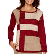 Alfred Dunner® Villa d'Este Long-Sleeve Sequin Colorblock Sweater