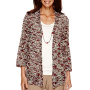 Alfred Dunner® Villa d'Este 3/4-Sleeve Eyelash Layered Top with Necklace