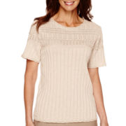 Alfred Dunner® Villa d'Este Short-Sleeve Pointelle Yoke Sweater Shell