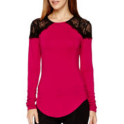 Bisou Bisou® Long-Sleeve Lace-Shoulder Shirred T-Shirt