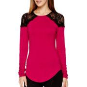 Bisou Bisou® Long-Sleeve Lace-Shoulder Shirred T-Shirt