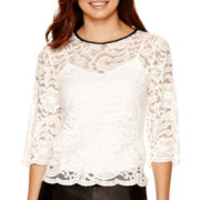 Bisou Bisou® 3/4-Sleeve Lace T-Shirt