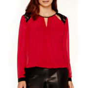 Bisou Bisou® Long-Sleeve Lace-Shoulder Surplice Blouse
