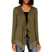 a.n.a® Long-Sleeve Chiffon-Trim Open Cardigan