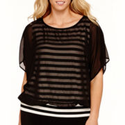 Alyx® Dolman-Sleeve Striped Top with Mesh Overlay - Plus