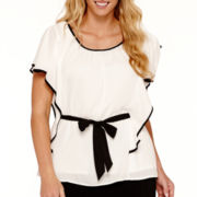 Alyx® Ruffle-Sleeve Top with Contrast Trim - Plus