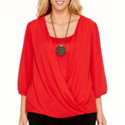 Alyx® 3/4-Sleeve Layered Wrap Top with Necklace - Plus