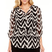 Alyx® 3/4-Sleeve Print Mandarin Collar Tunic Shirt - Plus
