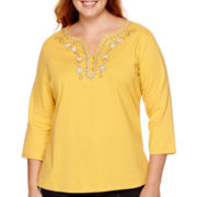 St. John's Bay® 3/4-Sleeve Embellished Top - Plus