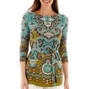 Liz Claiborne® 3/4-Sleeve Belted Print Tunic