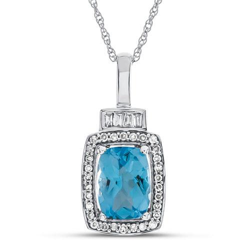 Womens Blue Topaz 10K Gold Pendant Necklace