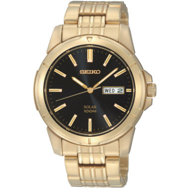 jcpenney.com | Seiko® Mens Gold-Tone Stainless Steel Solar Watch SNE100