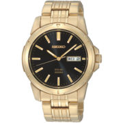 Seiko® Mens Gold-Tone Stainless Steel Solar Watch
