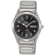 Seiko® Mens Silver-Tone Solar Watch