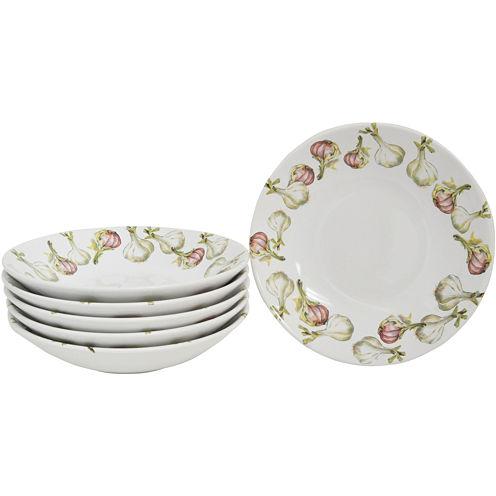 Abbiamo Tutto Garlic-Pattern Set of 6 Italian Soup/Pasta Bowls