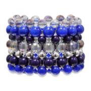 Mixit™ Antiqued Silver-Tone Blue Wide Stretch Bracelet