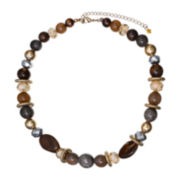Mixit™ Antiqued Gold-Tone Brown and Gray Short Necklace