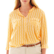 jcp™ 3/4-Sleeve Print Peasant Top - Plus