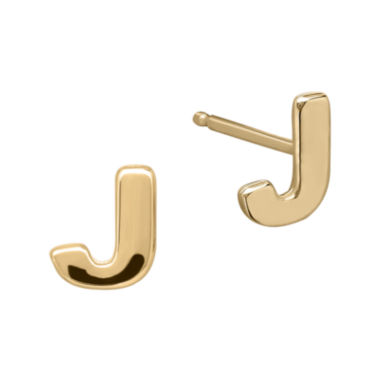 "jcpenney.com | Teeny Tiny® 10K Yellow Gold Initial ""J"" Single Stud Earring"