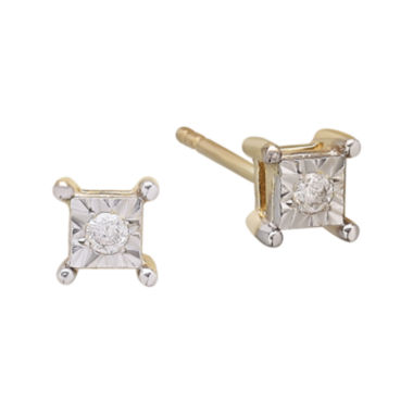 jcpenney.com | Diamond-Accent Solitaire 10K Yellow Gold Square Stud Earrings