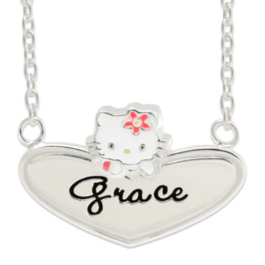 jcpenney.com | Hello Kitty® Personalized Sterling Silver and Enamel Heart Necklace