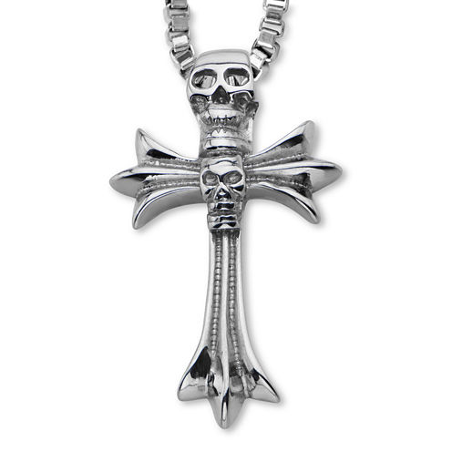 Inox® Jewelry Mens Stainless Steel Two Skull Cross Pendant Necklace