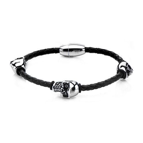 Mens Stainless Steel & Leather Skull Bracelet