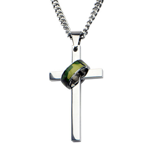 Inox® Jewelry Mens Stainless Steel Cross Pendant Necklace with Camo Ring