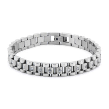 jcpenney.com | Inox® Jewelry Mens Cubic Zirconia & Stainless Steel Link Bracelet