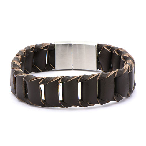 Inox® Jewelry Mens Stainless Steel & Brown Braided Leather Bracelet