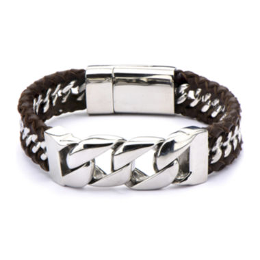 jcpenney.com | Inox® Jewelry Mens Stainless Steel & Brown Braided Leather Bracelet
