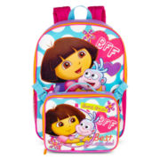 Dora Polka Dot Backpack with Lunch Kit