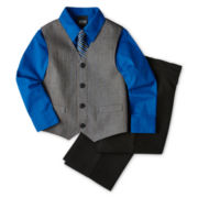 4-pc. Heather Twill Striped Vest Set – Boys 2-8