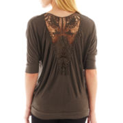 i jeans by Buffalo Elbow-Sleeve Lace-Back Tee