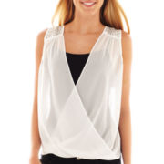 by&by Sleeveless Drape-Front Top