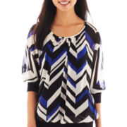 by&by 3/4-Sleeve Chevron Print Peasant Top
