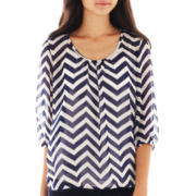 Heart & Soul® 3/4-Sleeve Chevron Print Peasant Top